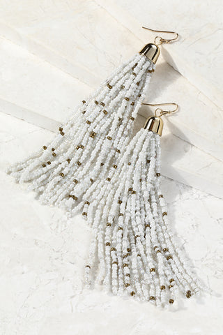 White Seed Bead Tassel Earrings