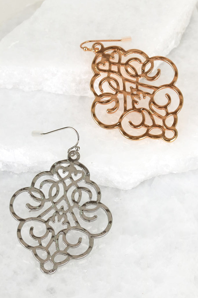 Moroccan Filigree Earrings in Silver or Gold