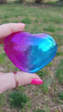 Load and play video in Gallery viewer, 2 Color Aura Clear Quartz Heart