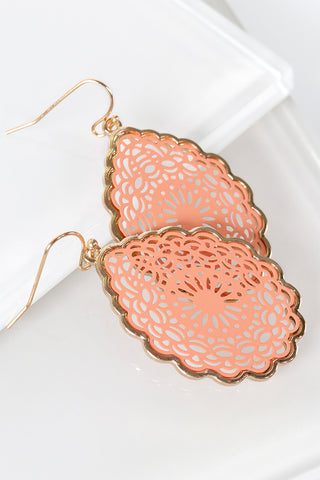 Peach (Coral) Teardrop Earrings