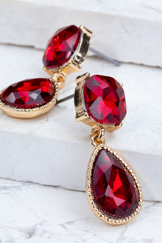 Gemstone Drop Earrings in Red