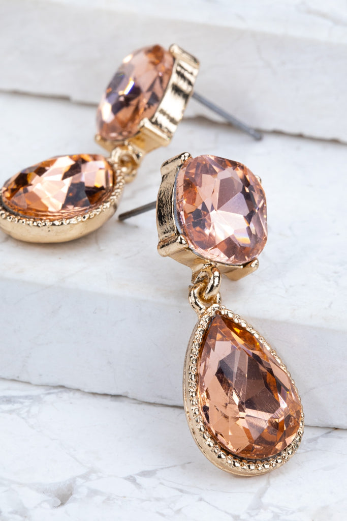 Gemstone Drop Earrings in Peach