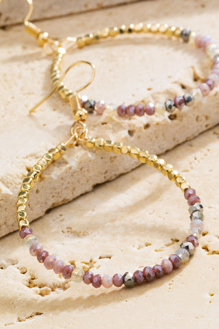 Gold Natural Stone Hoops in Purple