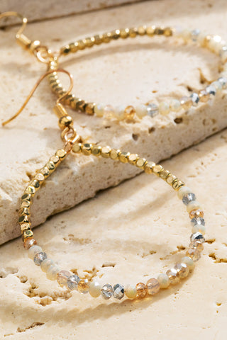 Gold Natural Stone Hoops