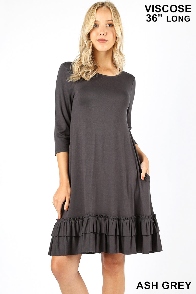 Ruffled Up Dress in Grey (1X-3X)