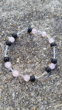 Load image into Gallery viewer, Rose, Clear Quartz & Black Onyx Crystal Bracelet