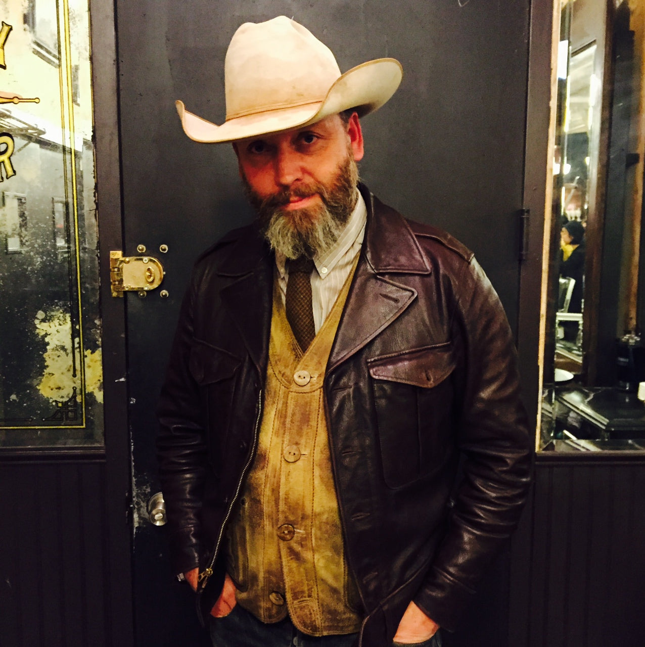 Russell Manley, owner of Ludlow Blunt, looking fantastic in head to toe RRL - brooklyn vintage men's style