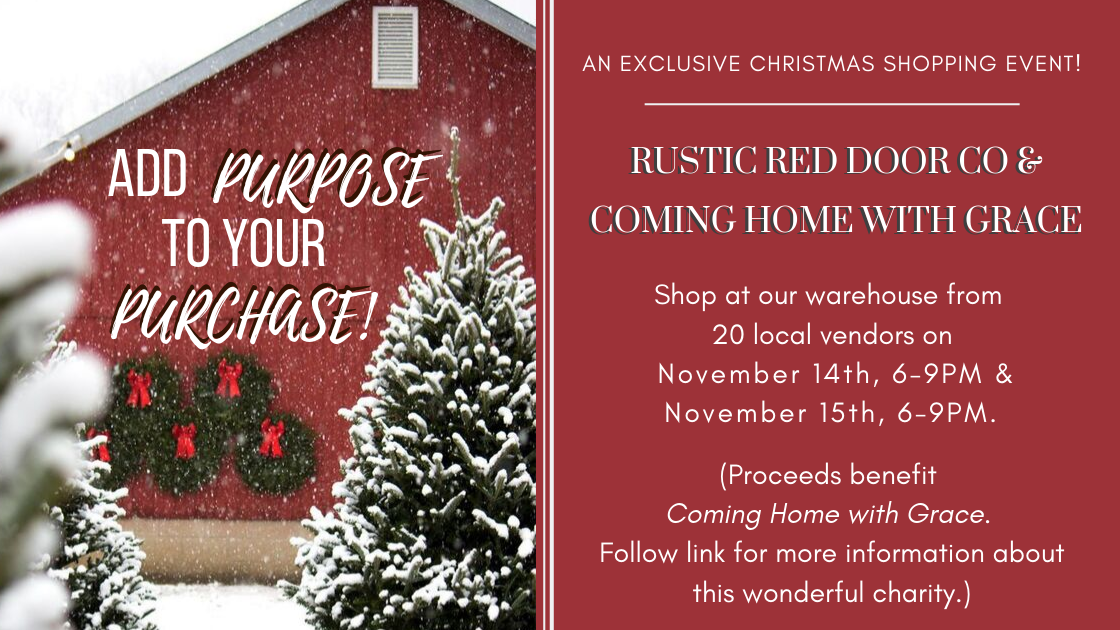 Add purpose to your purchase: An exclusive Christmas Shopping Event. Novemebr 14th-15th 6-9pm. Proceeds benefit Coming Home with Grace. Follow the link below for more information about this wondeful charity