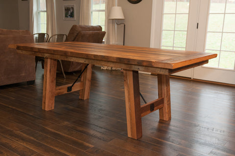 Reclaimed Table with turnbuckle