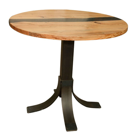 Round cafe table live edge river