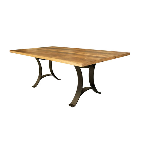 Boone Dining Table, Reclaimed Wooden Top Metal Based