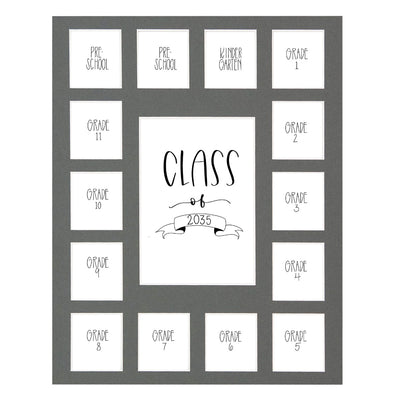 Gray School Picture Mat, Pick Number of Openings & Middle Artwork