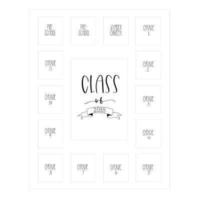 White School Picture Mat, Pick Number of Openings & Middle Artwork