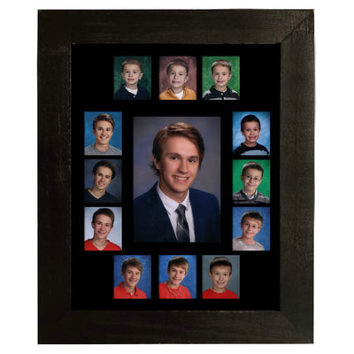 School Picture Frame, Black Frame, Black Mat, Pick Number of Openings & Middle Artwork - Rustic Red Door Co.