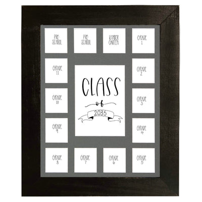 School Picture Frame, Black Frame, Grey Mat, Pick Number of Openings & Middle Artwork - Rustic Red Door Co.