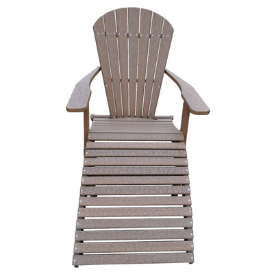 Rustic Farmhouse Polywood Outdoor Folding Adirondack Chair With Footrest,  Antique Mahogany   Rustic Red Door