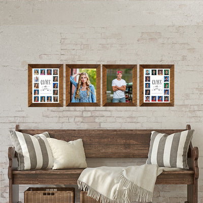 School Picture Frame, Barnwood Frame, White Mat, Pick Number of Openings & Middle Artwork - Rustic Red Door Co.