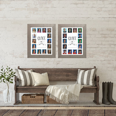 School Picture Frame, White Frame, White Mat, Pick Number of Openings & Middle Artwork