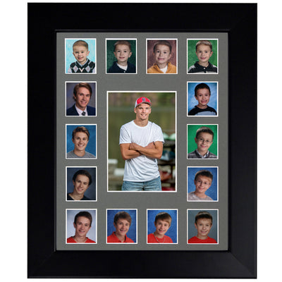School Picture Frame, Black Frame, Grey Mat, Pick Number of Openings & Middle Artwork