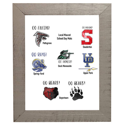 School Picture Frame, Grey Frame, White Mat, Pick Number of Openings & Middle Artwork