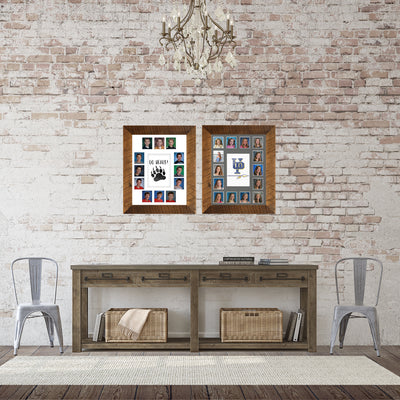 School Picture Frame, Barnwood Frame, White Mat, Pick Number of Openings & Middle Artwork