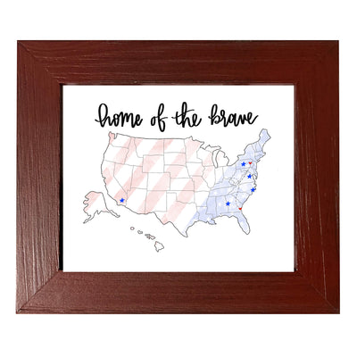 """Home Of The Brave"", Personalized, 8x10 Painted Red Wood Frame - Rustic Red Door Co."