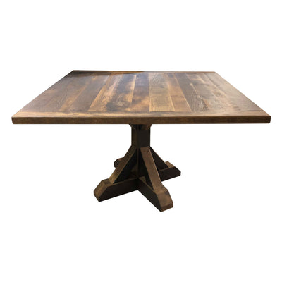 Thornton Dining Table, Reclaimed Wooden Top, Wooden Base