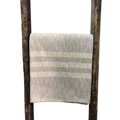 Gray with Cream Stripe Woven Throw Blanket 52x80 , Rugby Stripe Pattern - Rustic Red Door Co.