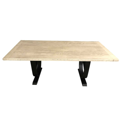 Sterling Dining Table, Reclaimed Wooden Top, Metal Base