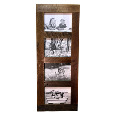 Reclaimed Wood 4 Pane Picture Frame  10x25 - Rustic Red Door Co.