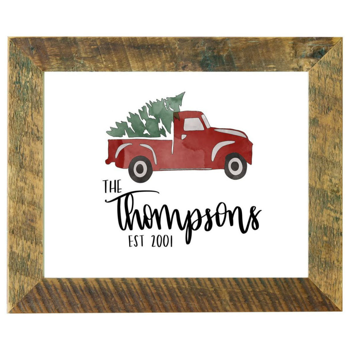 Family Personalized Sign Christmas Decor Tree Farm Vintage Red Truc Rustic Red Door Co