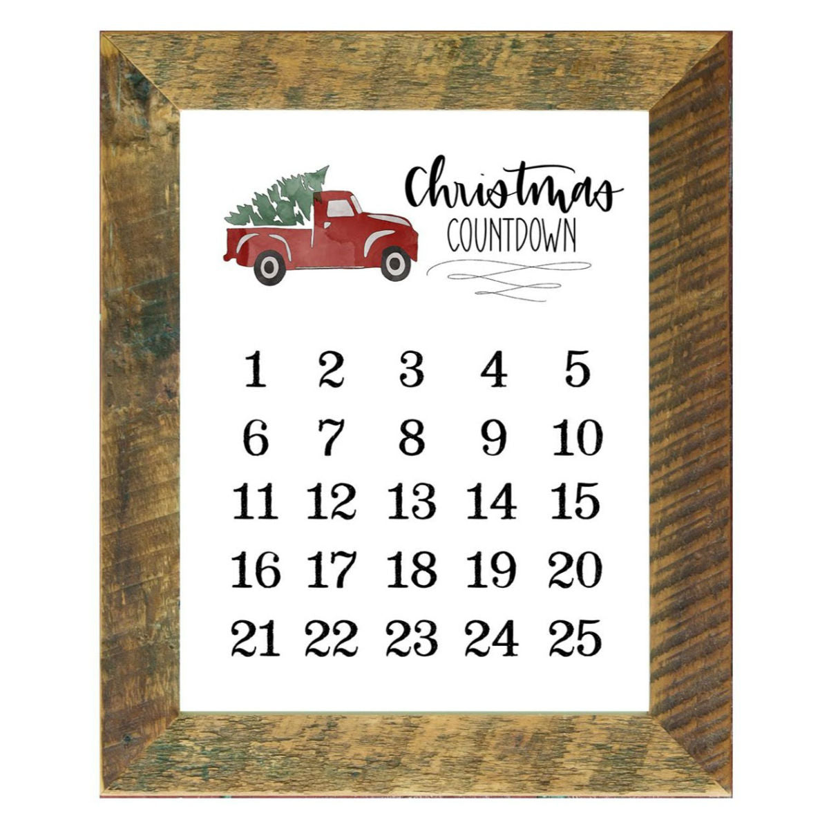 11x14 Christmas Truck Christmas Countdown - Rustic Red Door Co.