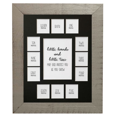 First Year 11x14 Frame, Little Hand and Little Toes, Grey Wooden Frame with Black Mat - Rustic Red Door Co.