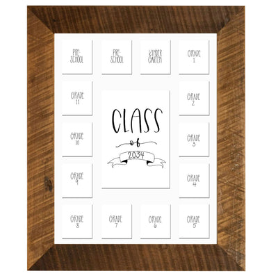 11x14 School Picture Frame, White 15 Opening Mat, Class of 2034 - Rustic Red Door Co.
