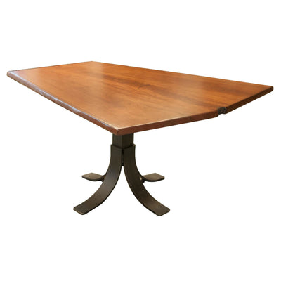 Live Edge Cherry Wood Dining Table, Pedestal Base - Rustic Red Door Co.
