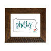 """Philly"" Sign, PA Map 8x10 Reclaimed Wood Frame - Rustic Red Door Co."
