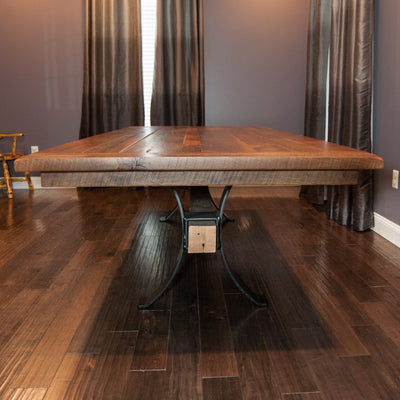 Pierce Dining Table, Reclaimed Barnwood, Clear Finish - Rustic Red Door Co.