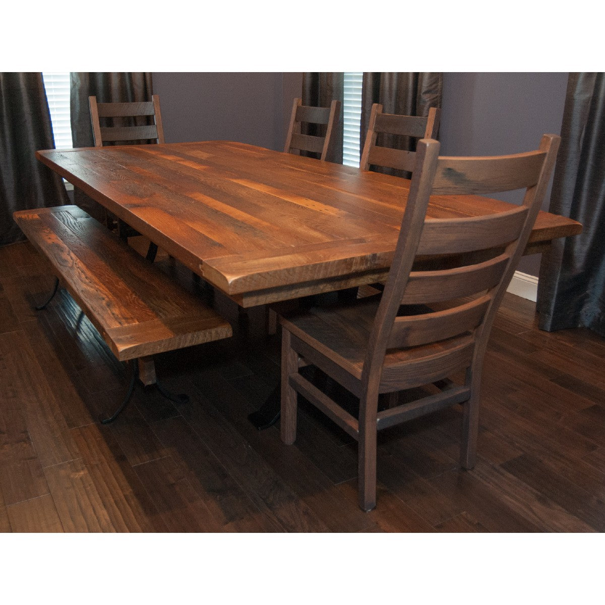 Picture of: Pierce Dining Table Reclaimed Barnwood Steel Timber Base Rustic Red Door Co