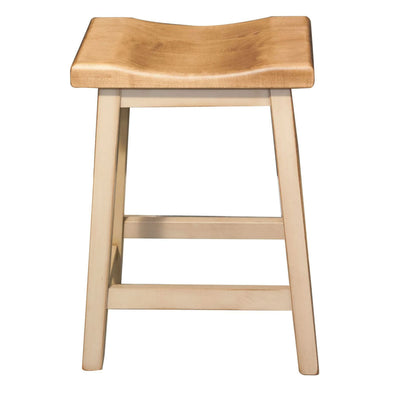 "Island Bar Stool, 24"", Brown Maple, Beige Painted base - Rustic Red Door Co."