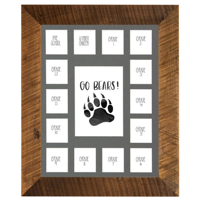 School Picture Frame, Barnwood Frame, Grey Mat, Pick Number of Openings & Middle Artwork - Rustic Red Door Co.