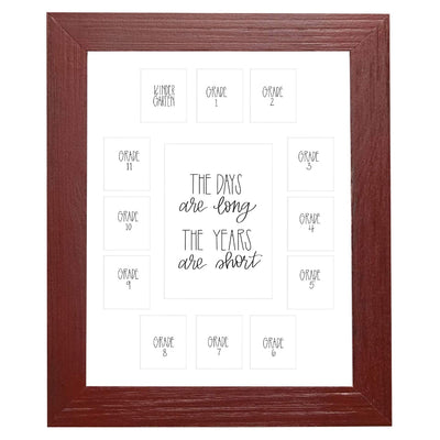 School Picture Frame, Red Frame, White Mat, Pick Number of Openings & Middle Artwork - Rustic Red Door Co.