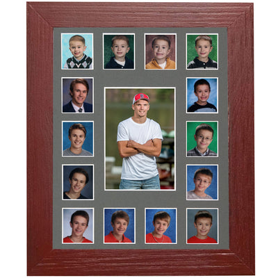 School Picture Frame, Red Frame, Grey Mat, Pick Number of Openings & Middle Artwork