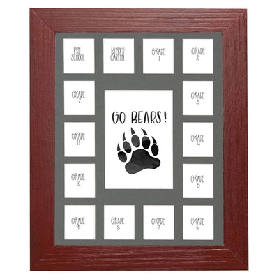 School Picture Frame, Red Frame, Grey Mat, Pick Number of Openings & Middle Artwork - Rustic Red Door Co.