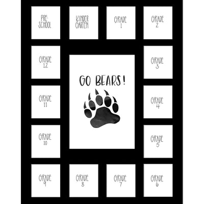 Black School Picture Mat, Pick Number of Openings & Middle Artwork