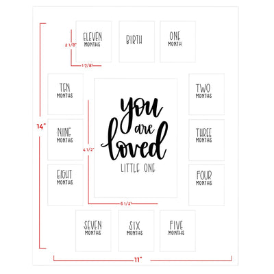 First Year Picture Mat with verse You Are Loved Little One on a White Mat (11 x 14)