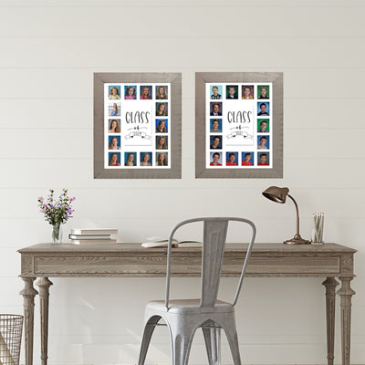 School Picture Frame, Grey Frame, White Mat, Pick Number of Openings & Middle Artwork - Rustic Red Door Co.