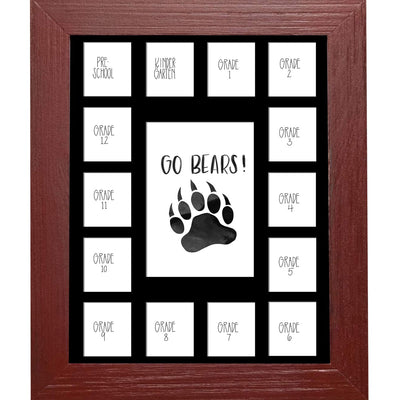 School Picture Frame, Red Frame, Black Mat, Pick Number of Openings & Middle Artwork - Rustic Red Door Co.