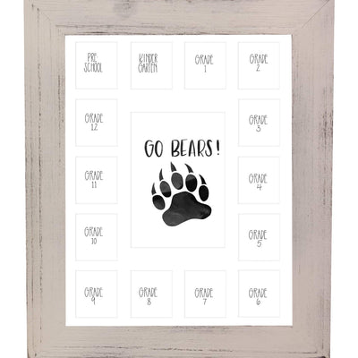 School Picture Frame, White Frame, White Mat, Pick Number of Openings & Middle Artwork - Rustic Red Door Co.