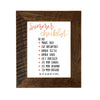 """Summer Checklist"" Sign, 8x10 Reclaimed Wood Frame - Rustic Red Door Co."