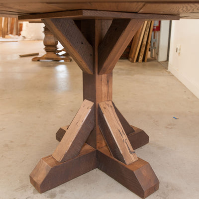 Thornton Dining Table, Reclaimed Wooden Top, Wooden Base - Rustic Red Door Co.